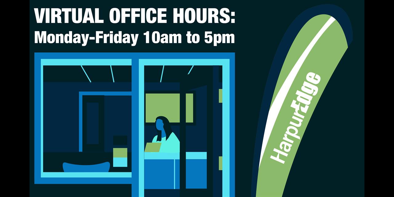 Harpur Edge Virtual Spring Office Hours on Zoom Event Logo