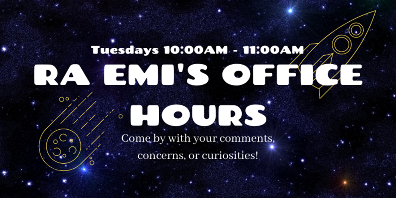 RA Emi's Office Hours Event Logo