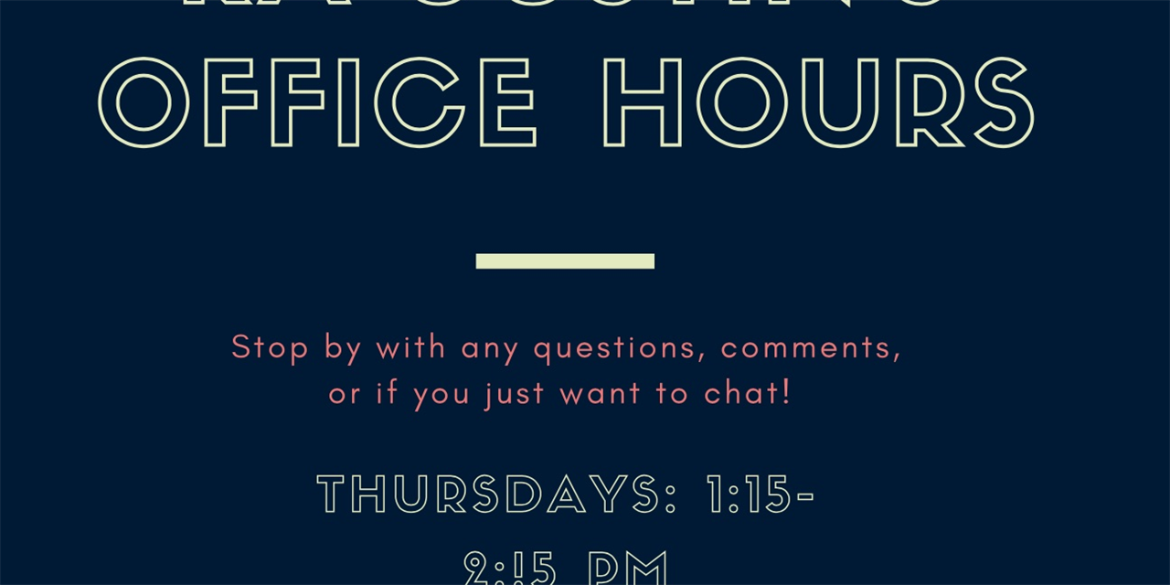 RA Justin's Office Hours Event Logo