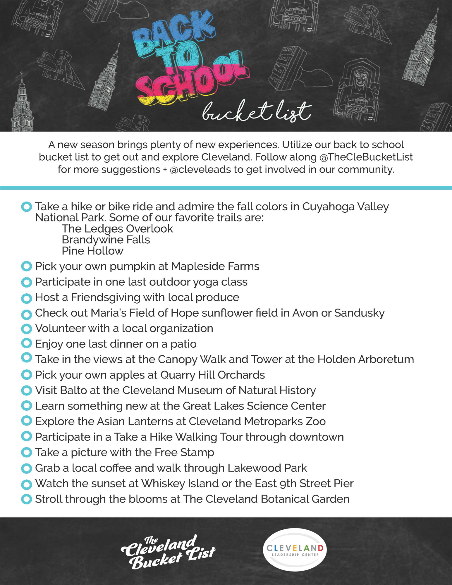 cleveland leadership center back to school bucket list flyer