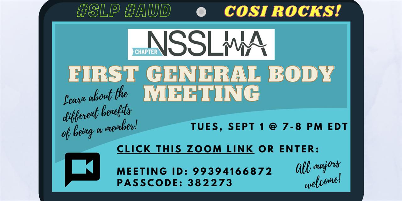 CWRU NSSLHA First General Body Meeting Event Logo