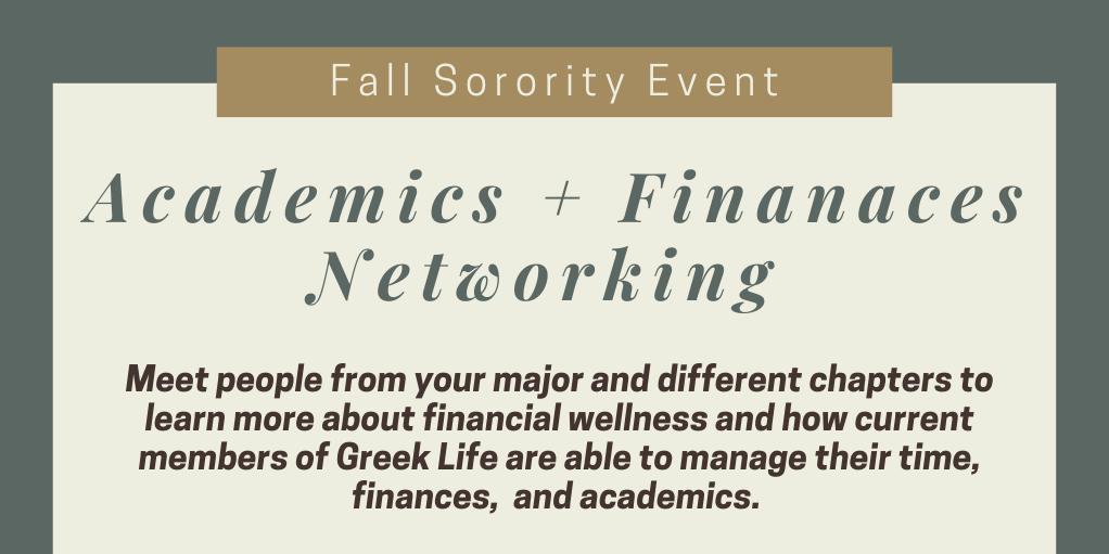 Academics + Finances Networking Event Logo