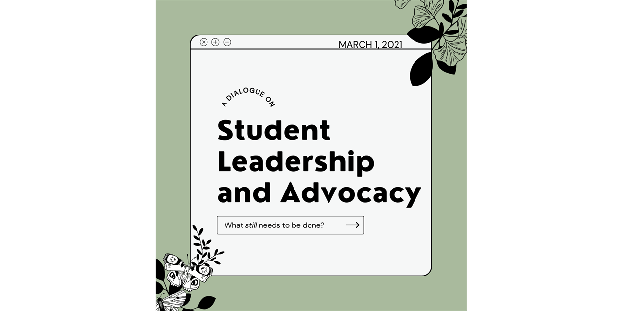 Dialogue on Student Leadership and Advocacy hosted by the Student Government Association Event Logo