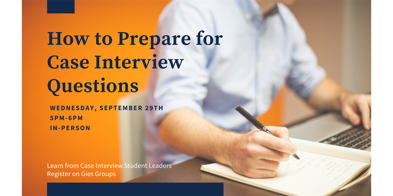 How to Prepare for Case Interview Questions - IN PERSON Event Logo