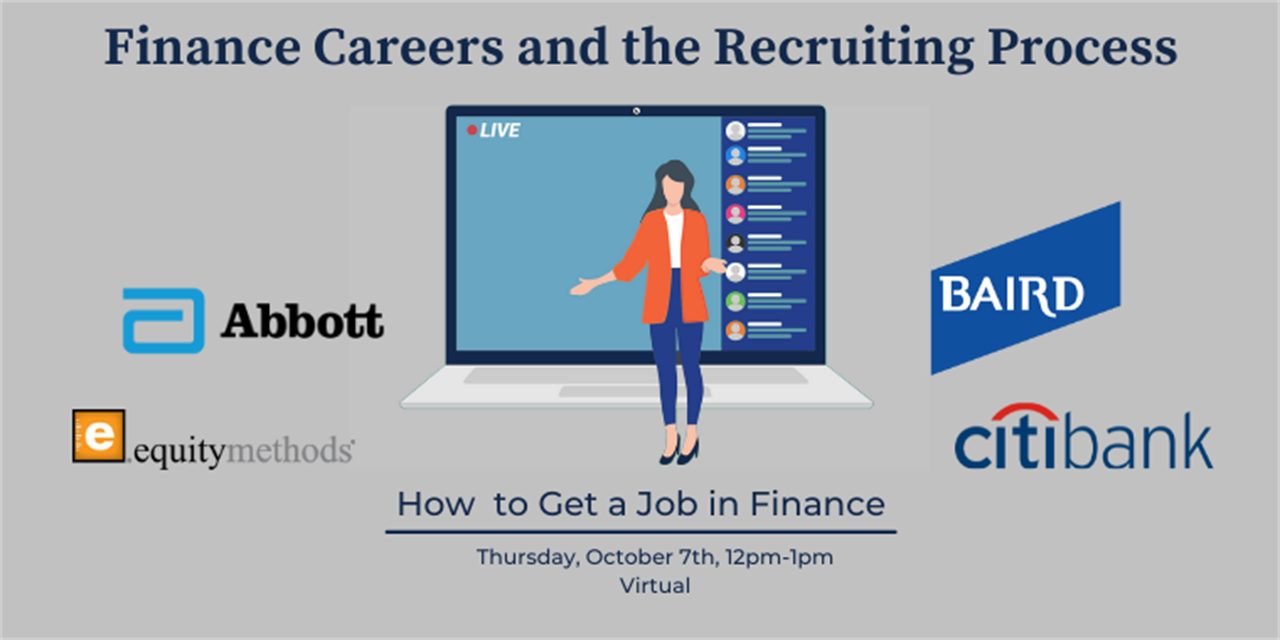 Finance Careers and the Recruiting Process - Virtual Event Logo