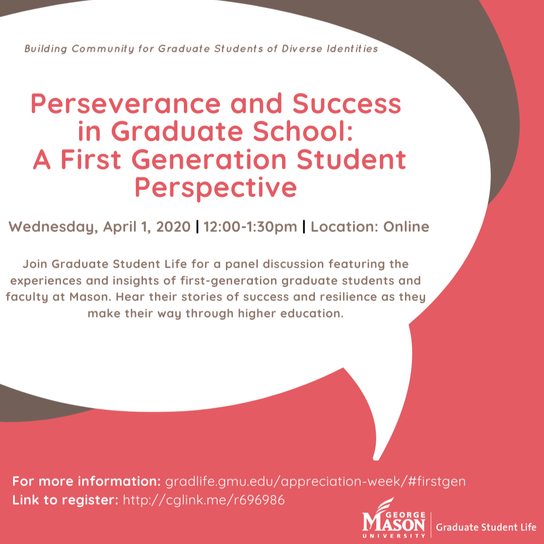 Spring Building Community Event: Perseverance and Success in Graduate School: A First Generation Student Perspective