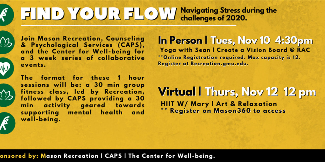 Find Your Flow: Navigating Stress during 2020 | (HIIT W/ Mary / Art & Relaxation) Event Logo