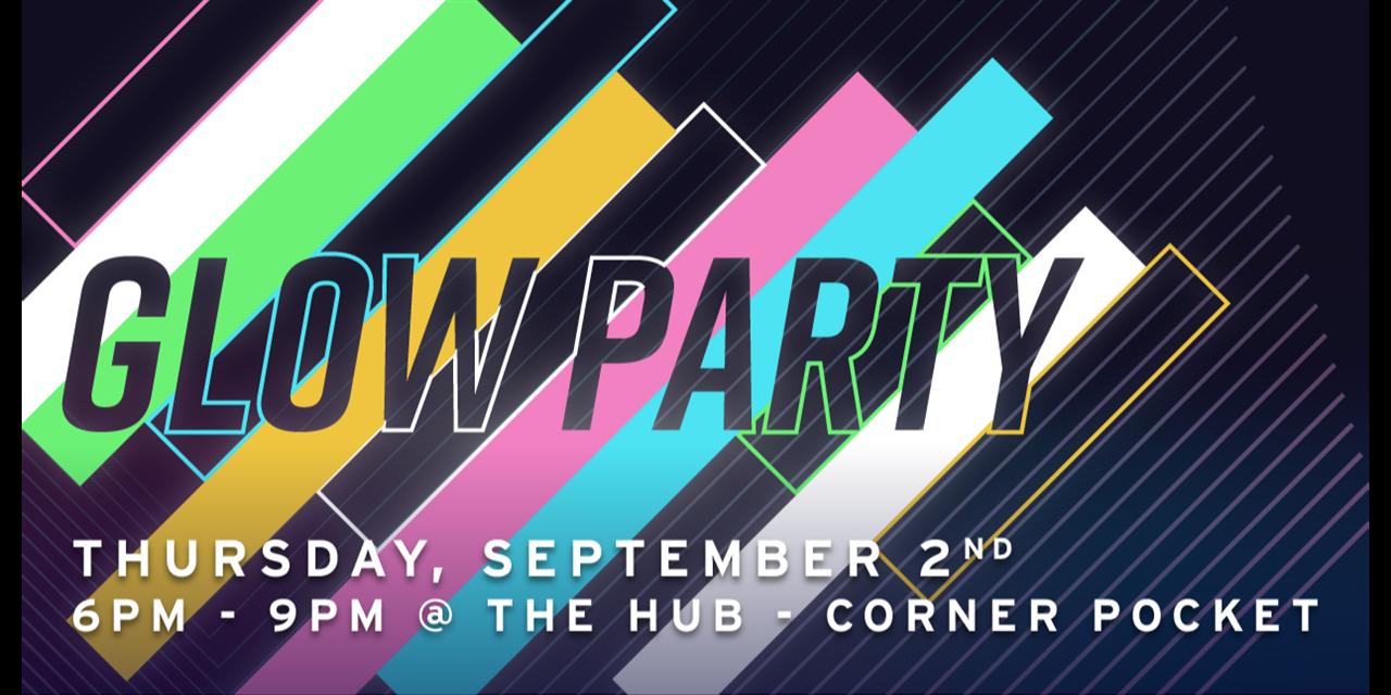 Corner Pocket Glow Party Event Logo