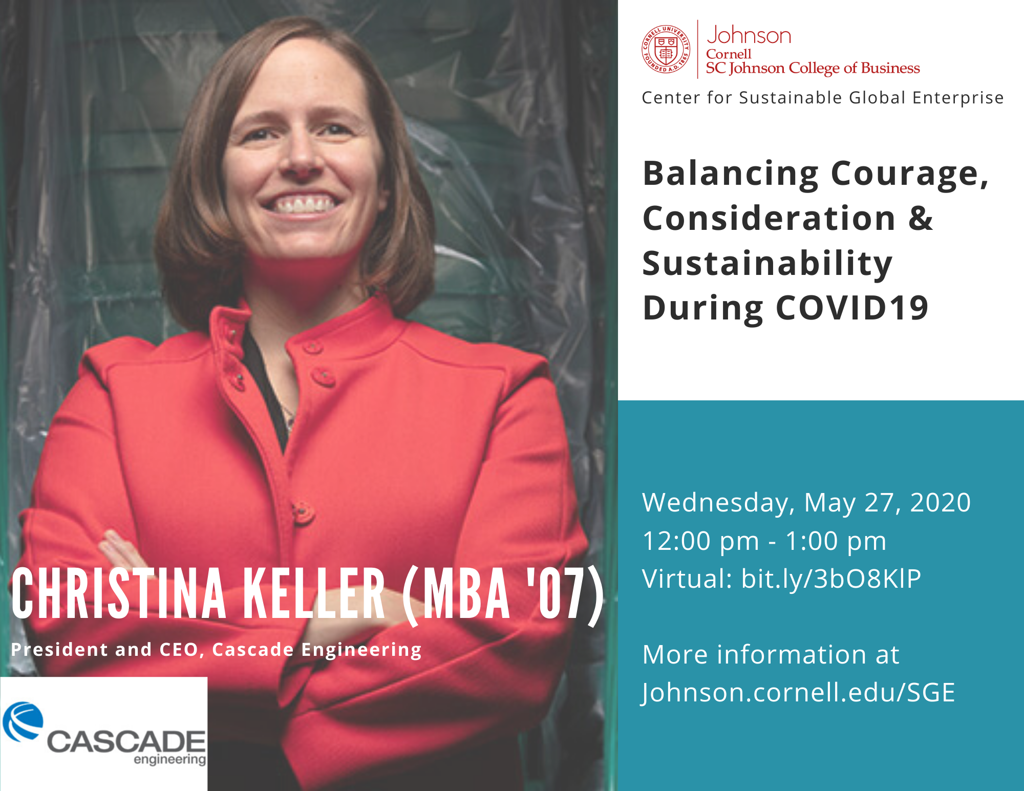 Balancing courage, consideration and sustainability during COVID19: A discussion with Christina Keller, MBA'07, president and CEO at Cascade Engineering