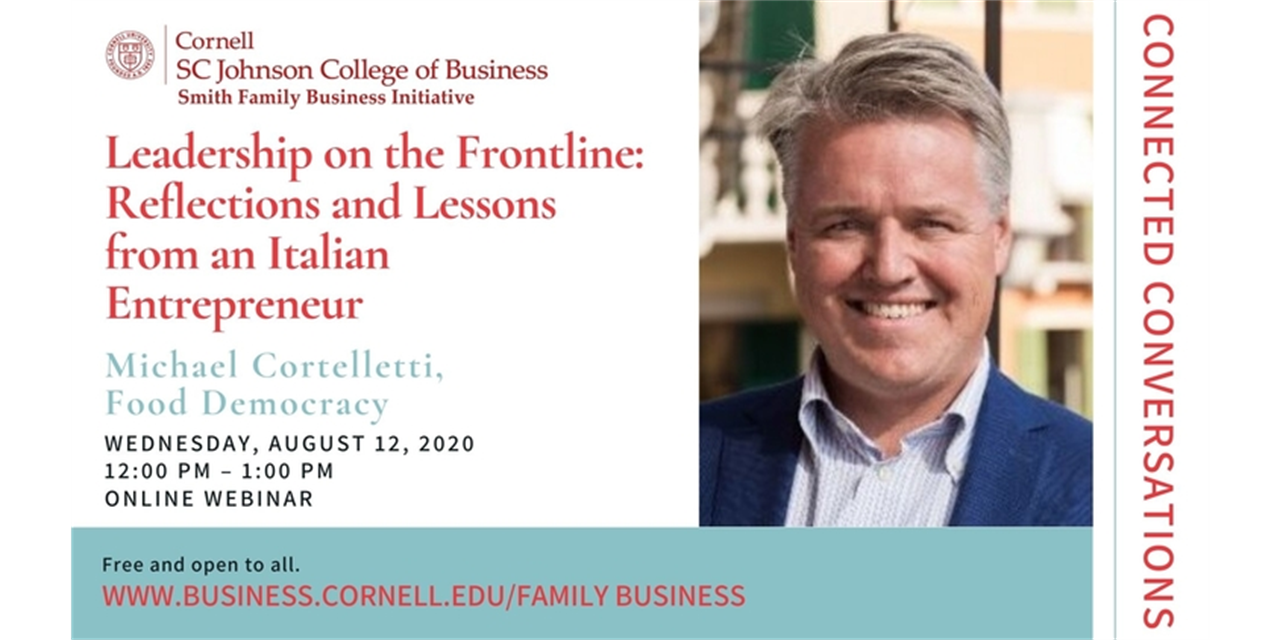 Connected Conversations: Leadership on the Frontline: Reflections and Lessons from an Italian Entrepreneur Event Logo