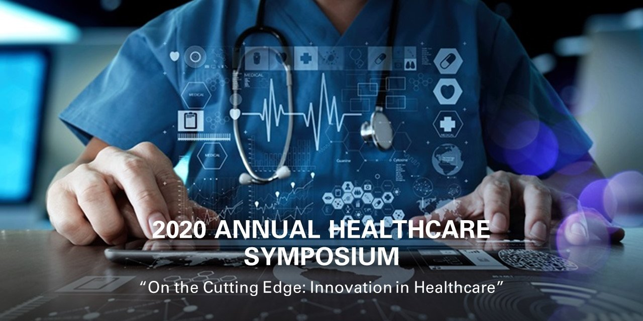 """Healthcare Club Annual Symposium: """"On the Cutting Edge: Innovation in Healthcare"""" Event Logo"""