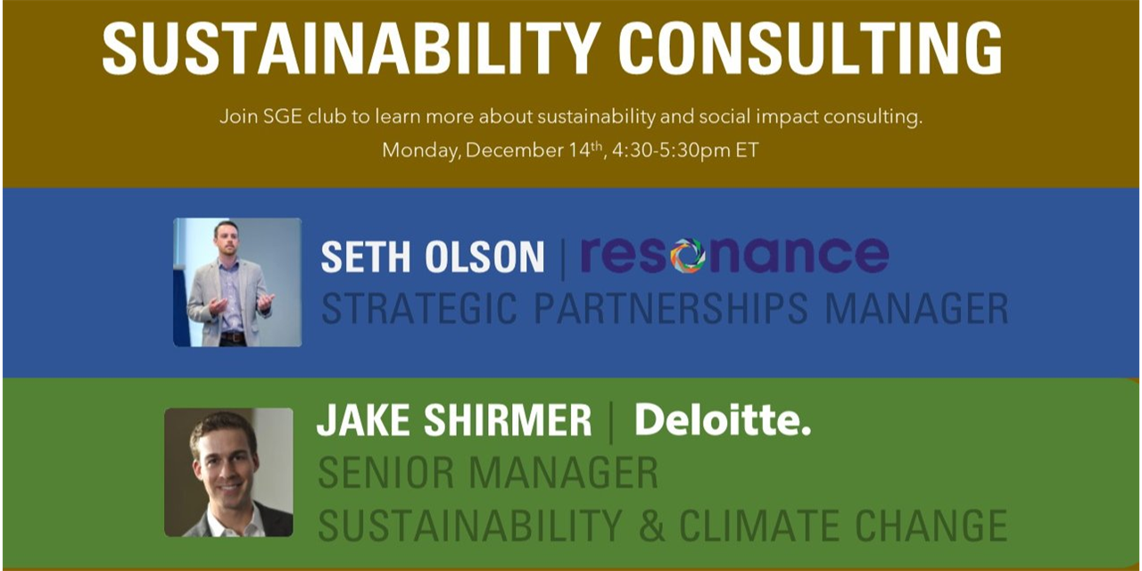 SGE Club & Consulting Club: Sustainability Consulting with Resonance and Deloitte Event Logo