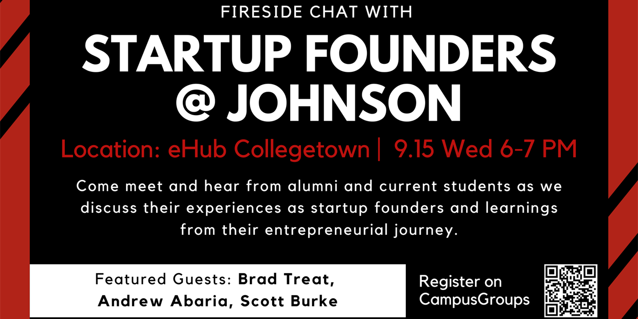 Fireside Chat with Startup Founders @ Johnson Event Logo