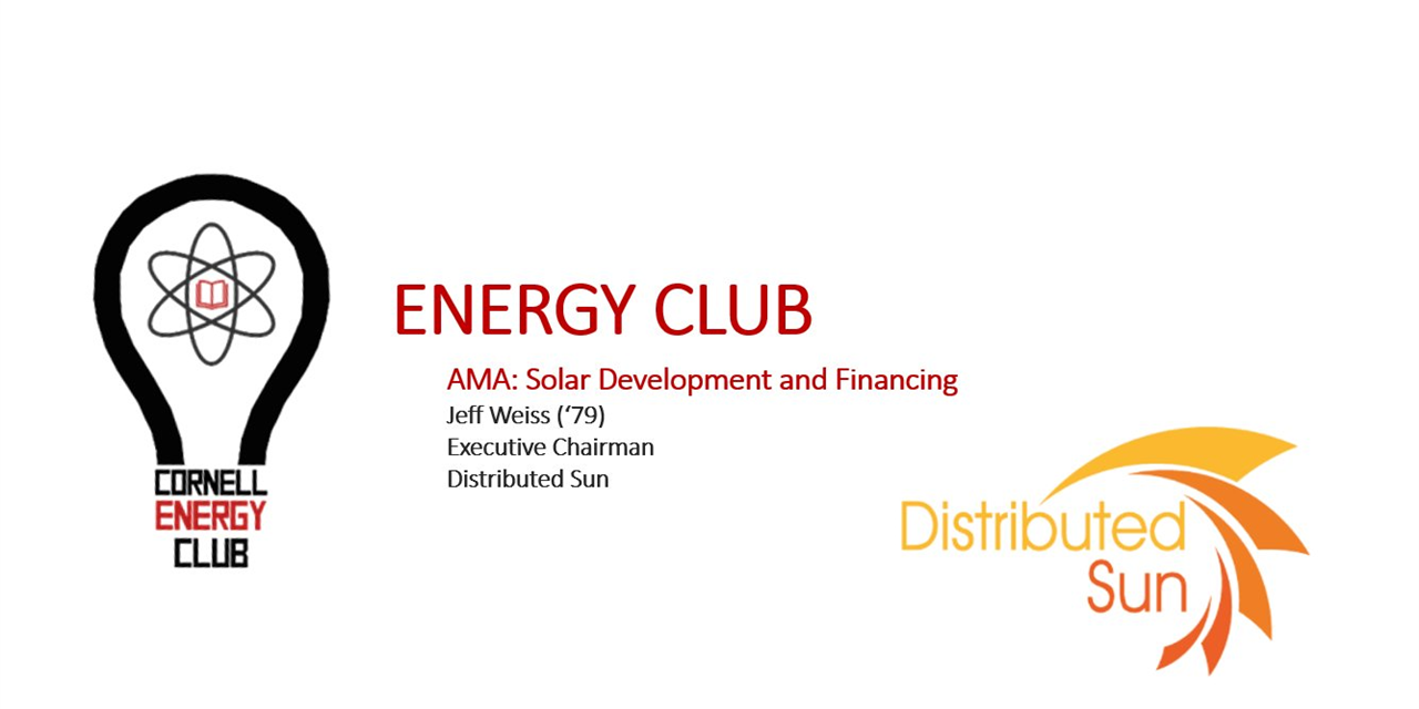 AMA: Solar Development and Financing w/ Jeff Weiss, Executive Chairmen, Distributed Sun Event Logo