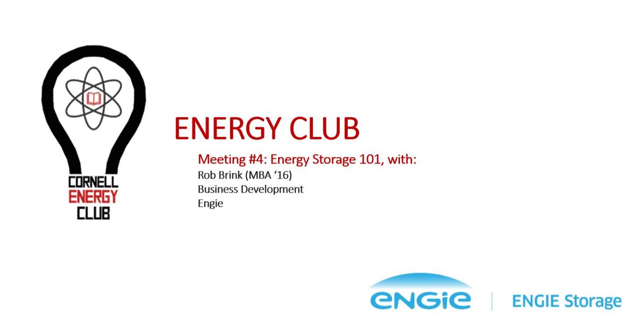 Energy Club, Meeting #5, Energy Storage w/ Engie Event Logo