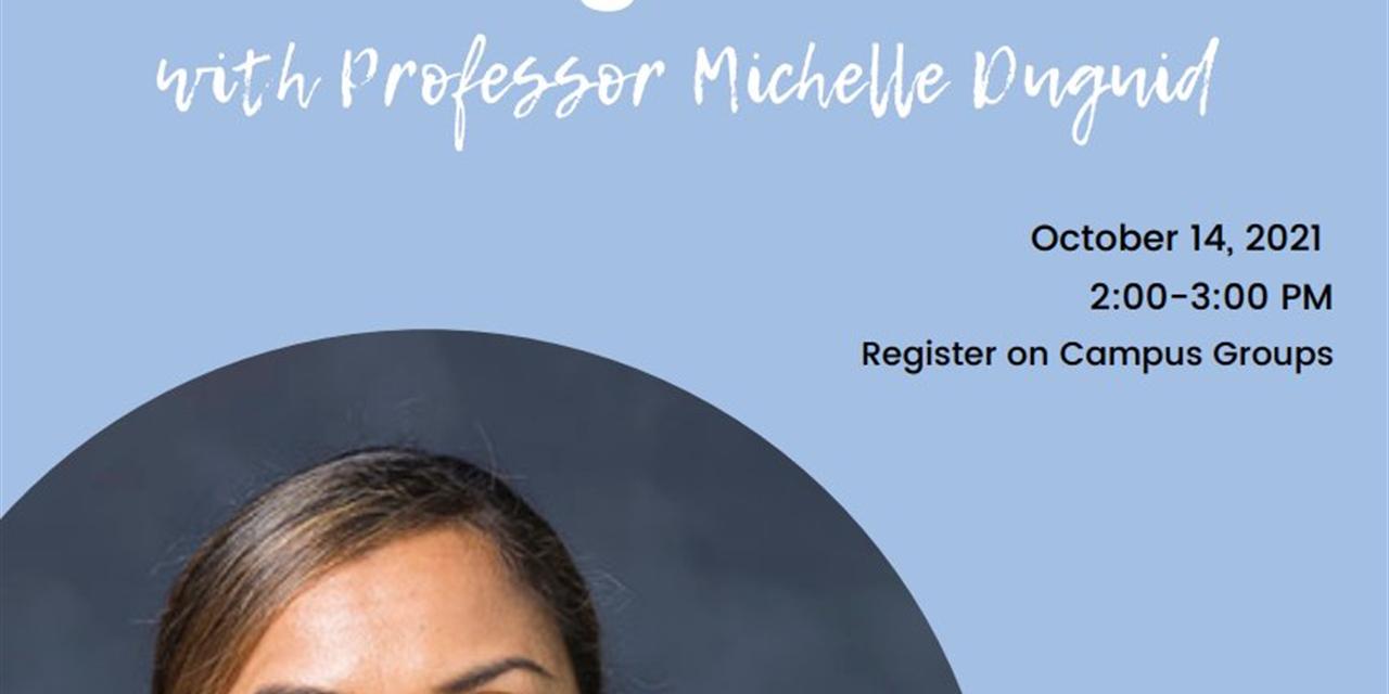 Leadership Seminar on Negotiation with Professor Michelle Duguid Event Logo