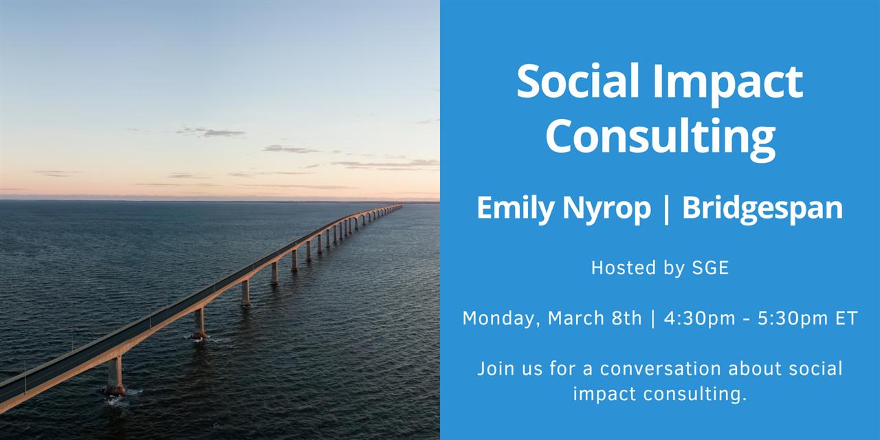 SGE Club: Social Impact Consulting with Bridgespan Event Logo