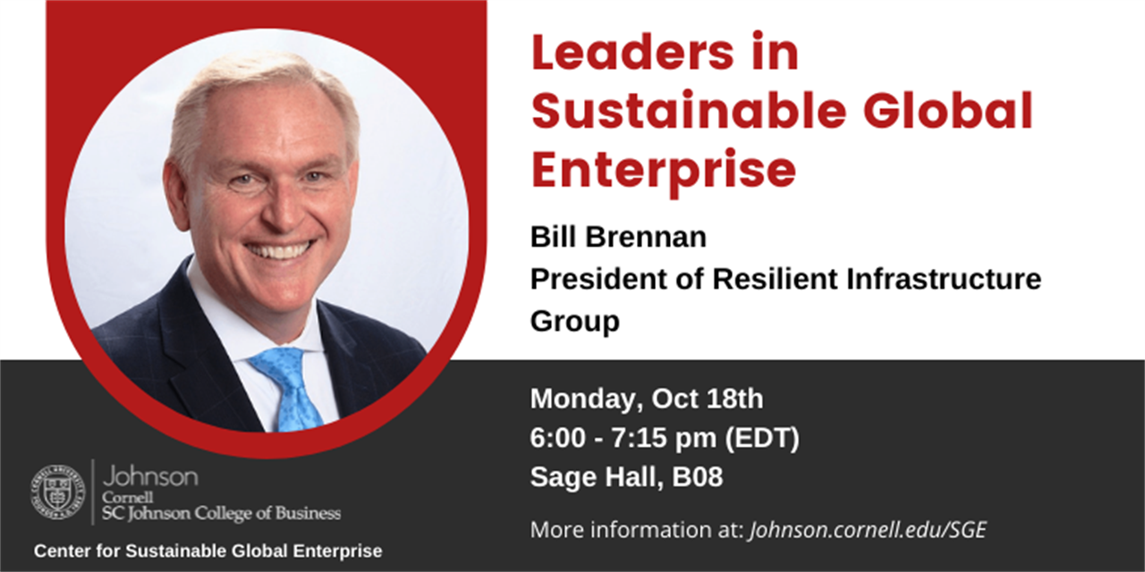 Leaders in Sustainable Global Enterprise - Bill Brennan, President of Resilient Infrastructure Group Event Logo