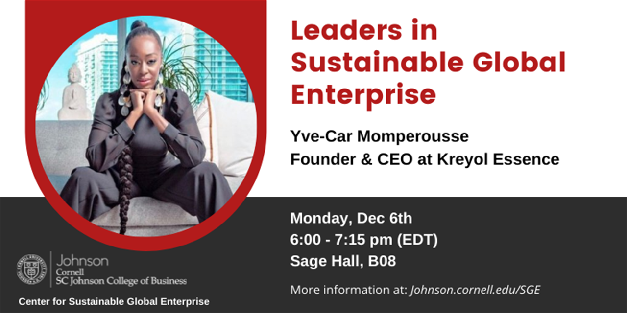 Leaders in Sustainable Global Enterprise - Yve-Car Momperousse, Founder & CEO at Kreyol Essence Event Logo