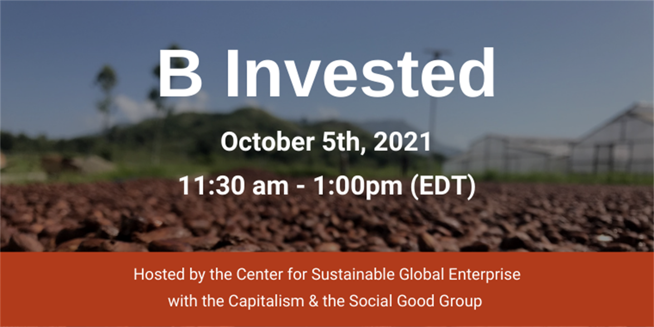 B Invested: The pursuit of B Corp certification Event Logo