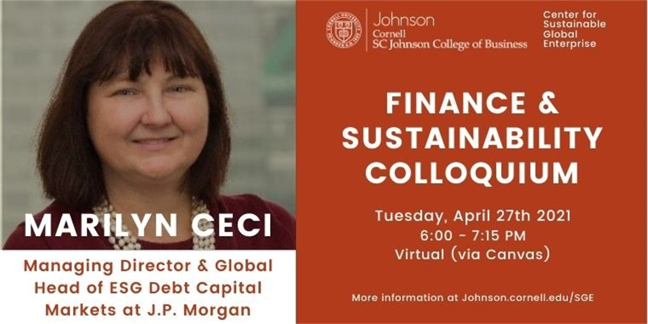 Finance & Sustainability Colloquium: Marilyn Ceci, Managing Director and Global Head of ESG Debt Capital Markets at J.P. Morgan Event Logo