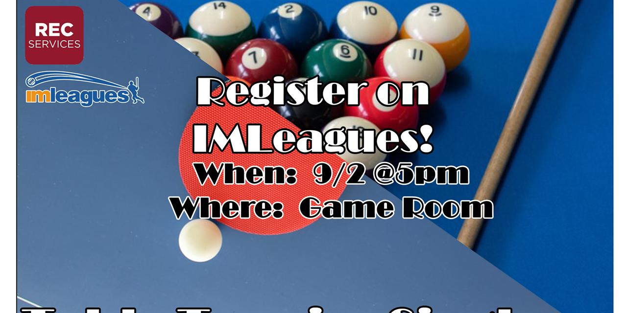 Intramural Billiards & Table Tennis Event Logo