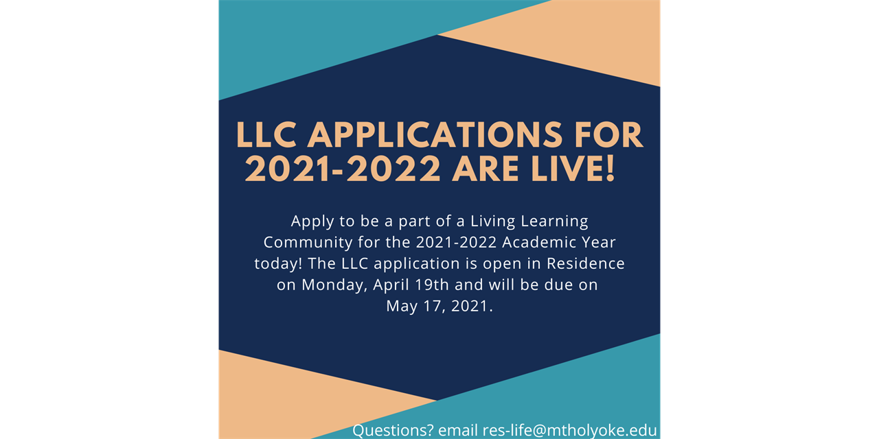 Living Learning Community Application is live! Event Logo