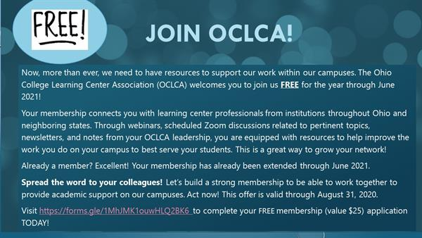 Flyer inviting OCPA members to join the Ohio College Learning Center Association (OCLCA) FREE until June 20, 2021.