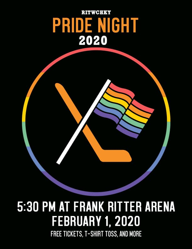 Poster with a black background and a rainbow circle outline in the middle of the poster. In the circle is an illustration of a rainbow pride flag crossed with a hockey stick. At the top of the poster there is white and orange text that says
