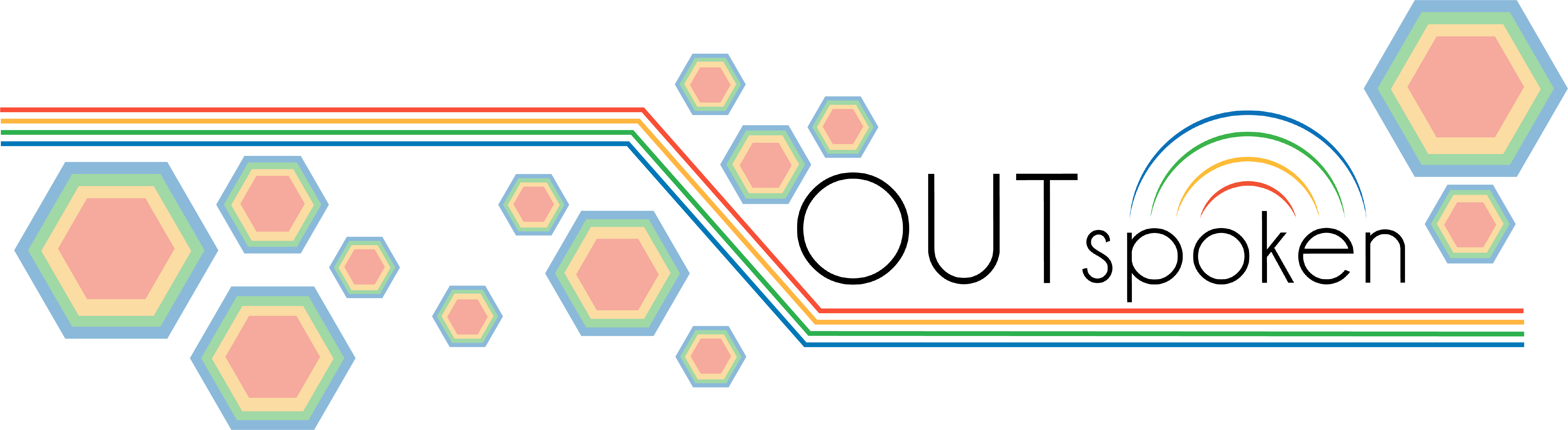 The OUTspoken web banner. There are rainbow hexagons on a white background and the OUTspoken logo is placed above red, yellow, green, and blue lines.