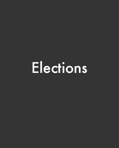 Gray portrait rectangle with centered white text that reads Elections