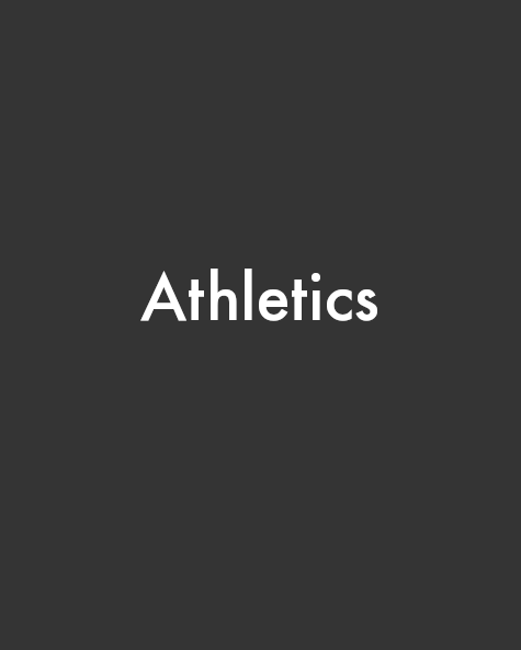 Gray portrait rectangle with centered white text that reads Athletics
