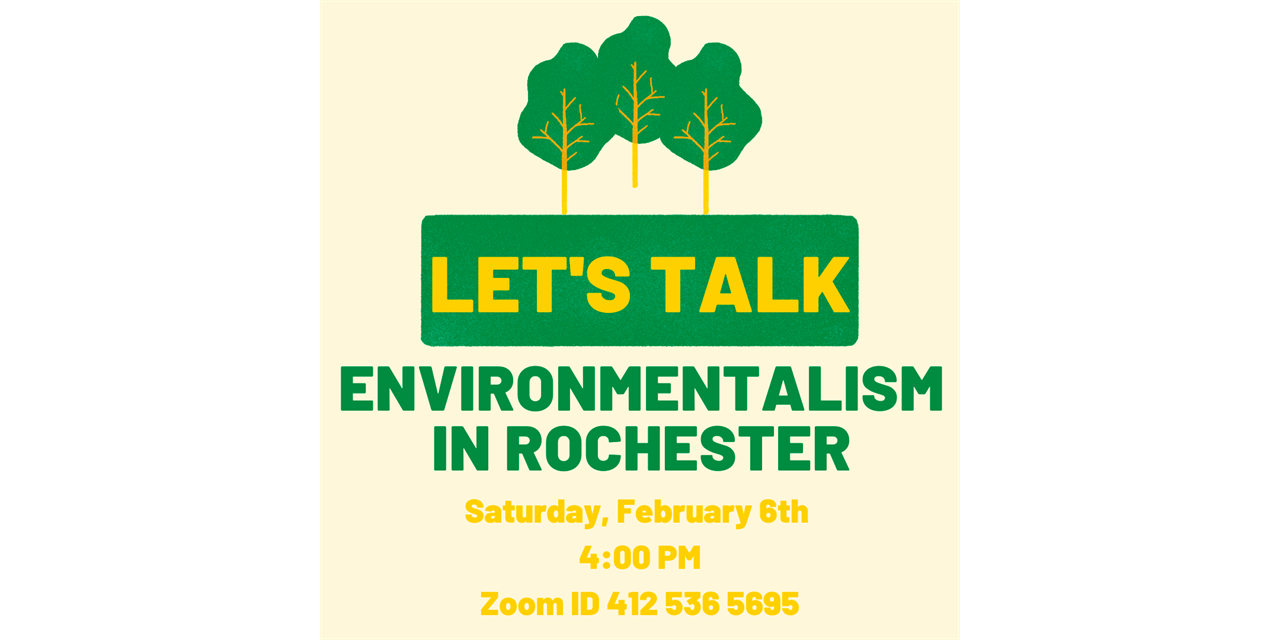 Let's Talk: Environmentalism in Rochester Event Logo