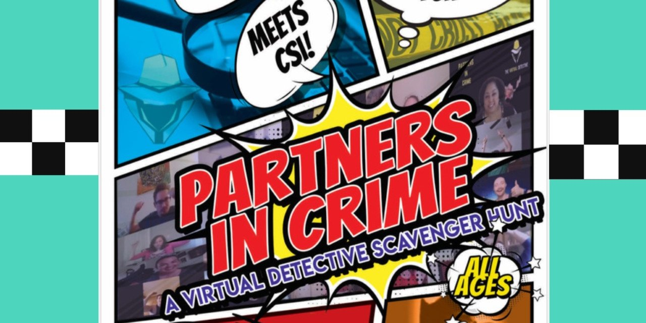 """Partners in Crime: Judgement Day"" Virtual Scavenger Hunt Event Logo"