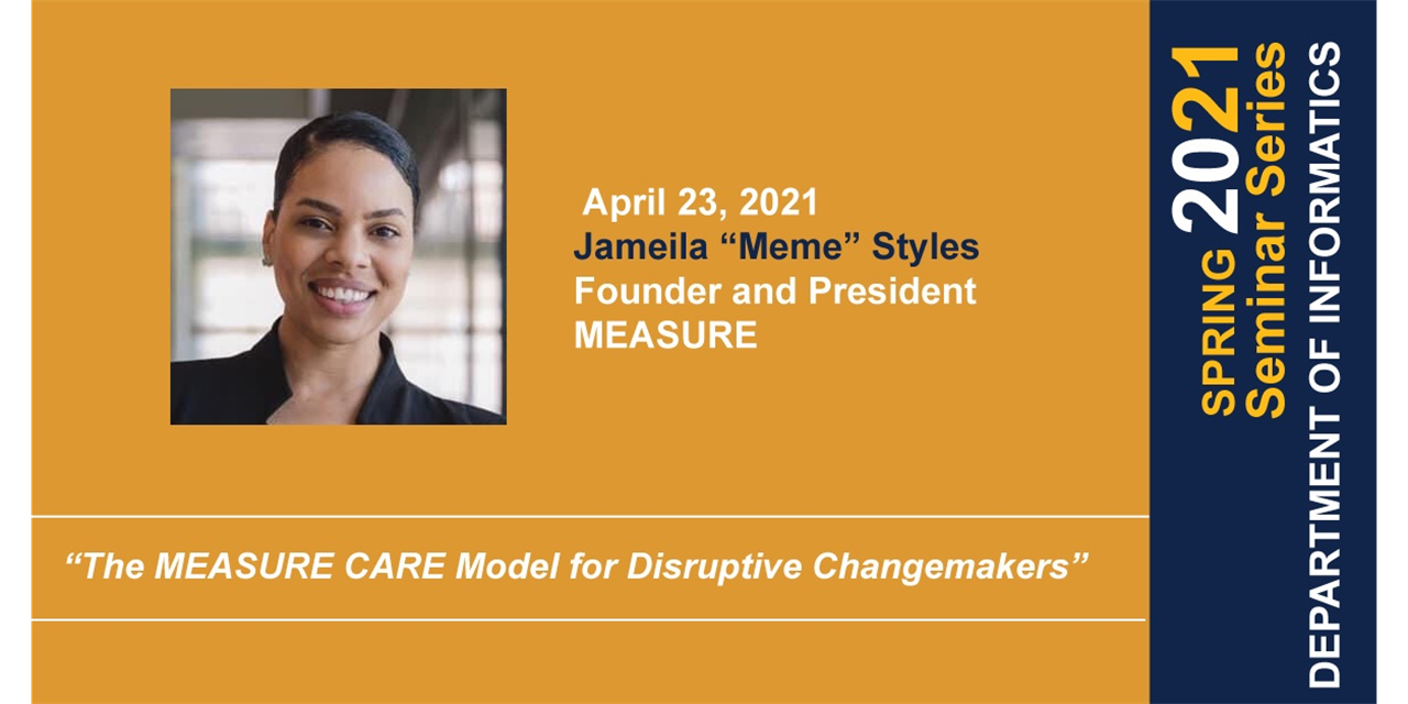 INF Seminar: The MEASURE CARE Model for Disruptive Changemakers Event Logo