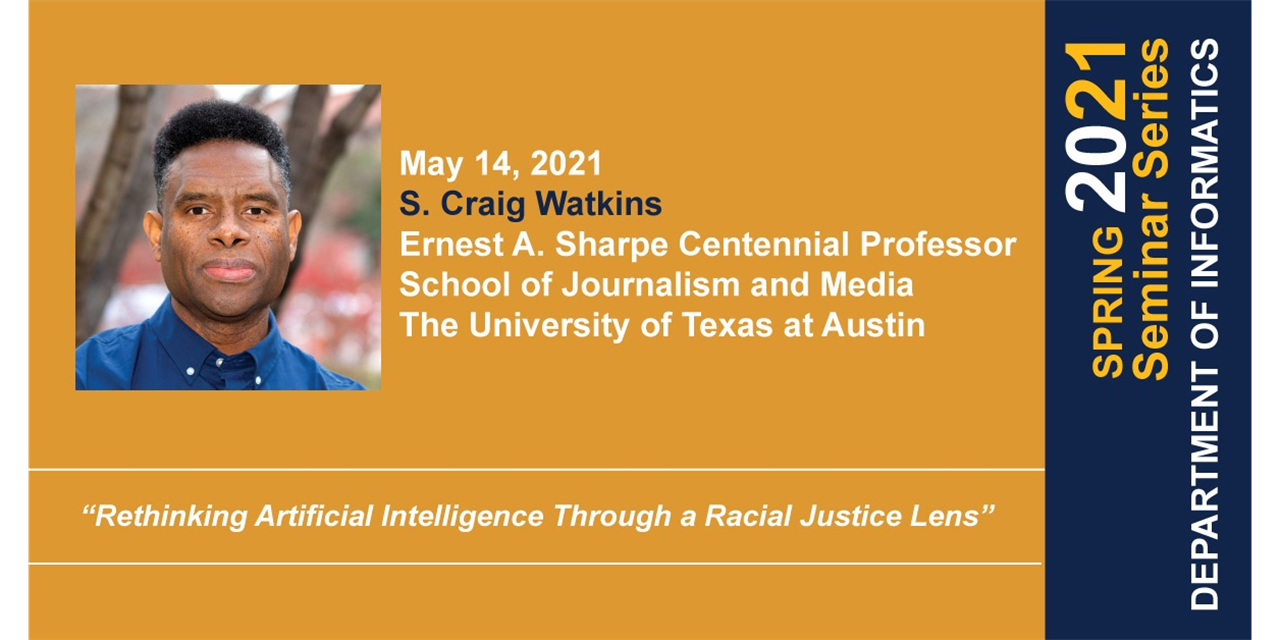 INF Seminar: Rethinking Artificial Intelligence Through a Racial Justice Lens Event Logo