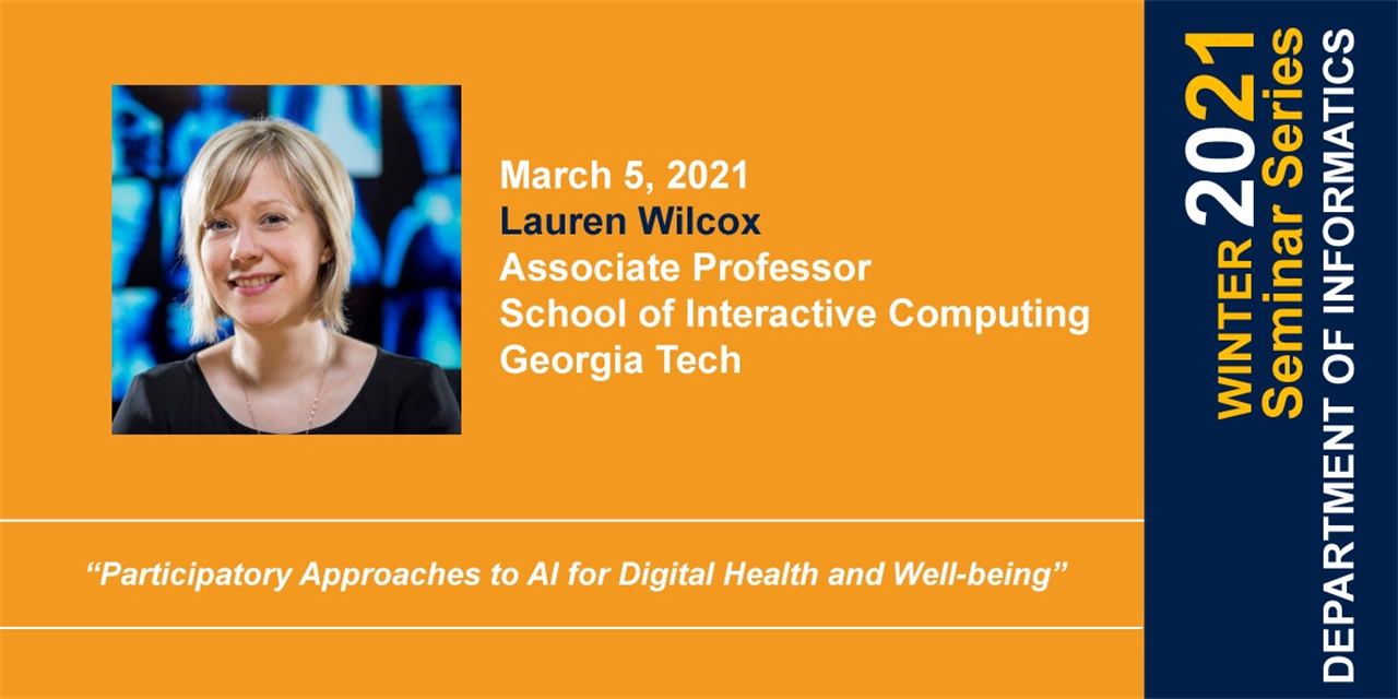 INF Seminar Series: Participatory Approaches to AI for Digital Health and Well-being Event Logo