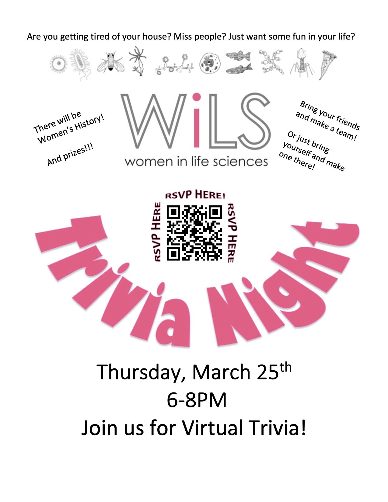 Click here to Register for WiLS Trivia. Image is a flier advertising the Event