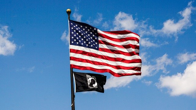 American and Pow Flags
