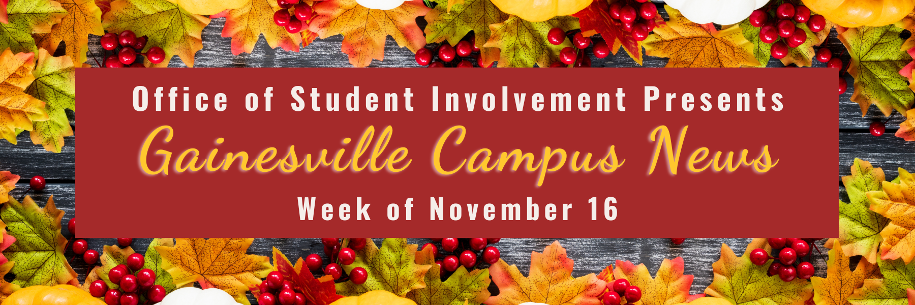 Office of Student Involvement presents Gainesville Campus News, Week of November 16