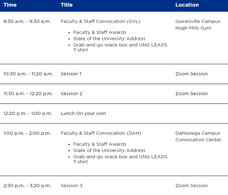 UNG LEADS Day Schedule