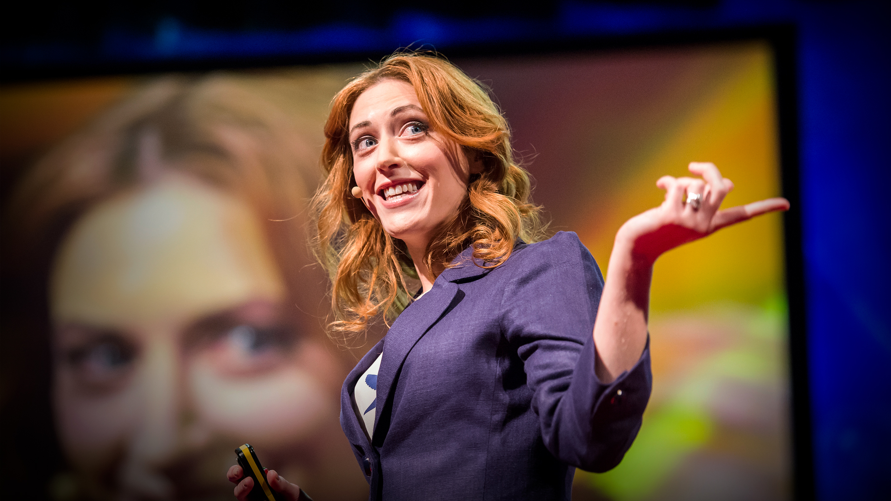 Psychologist Kelly McGonigal giving a TED Talk