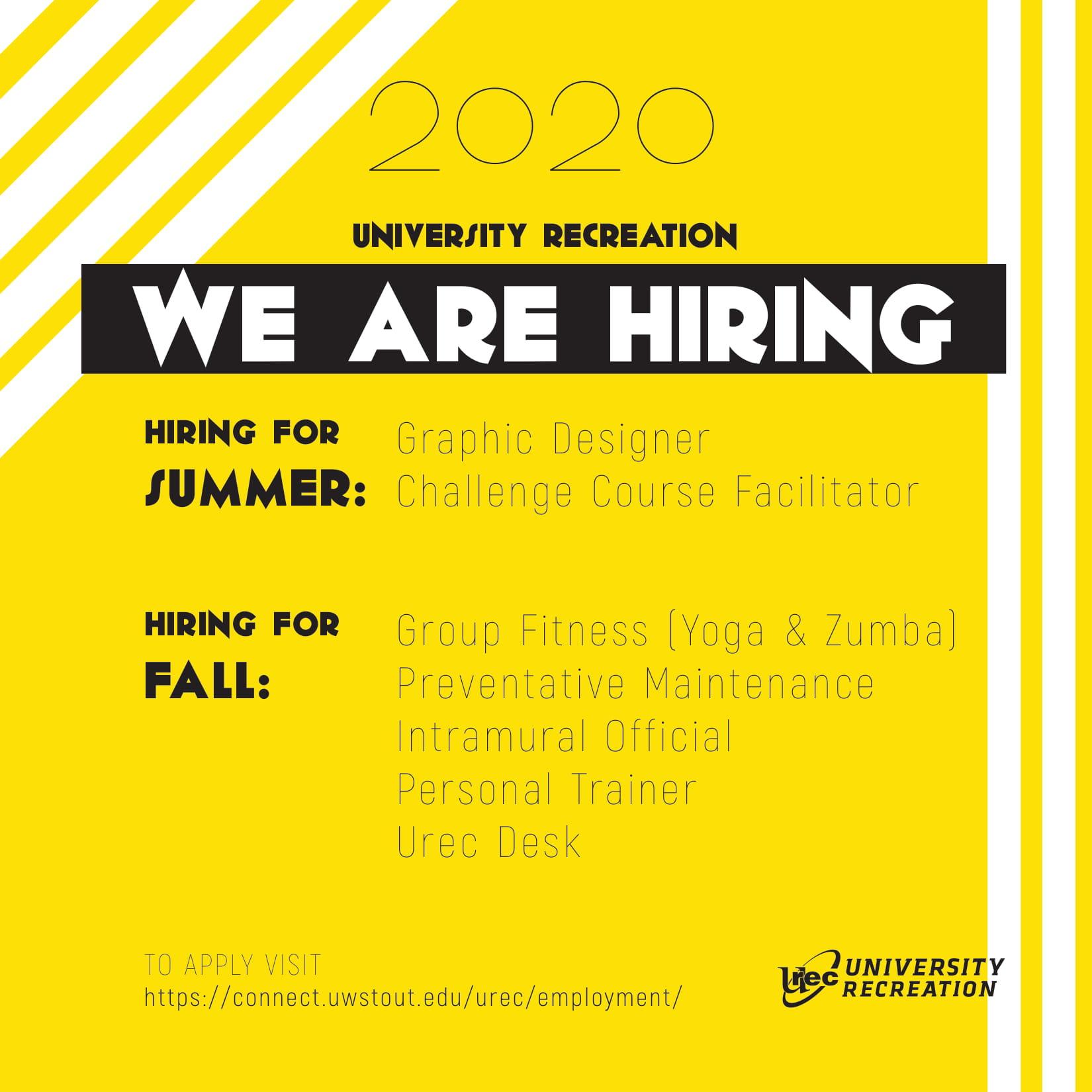 University Recreation Hiring