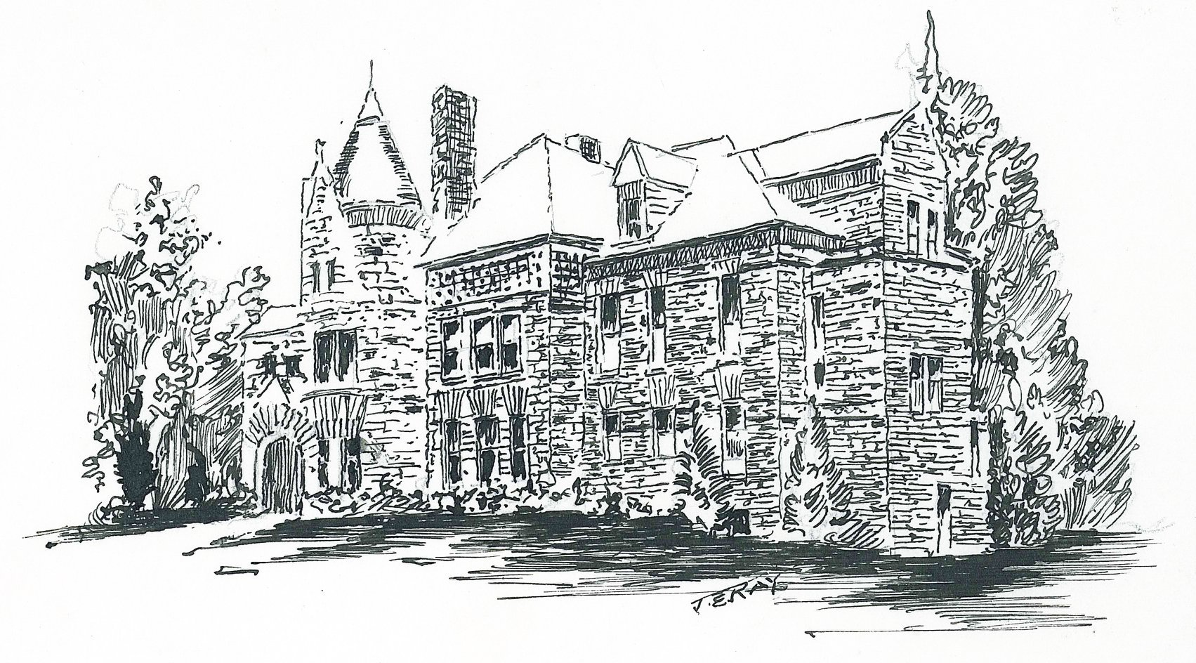 Coloring page of the Louis Smith Tainter House