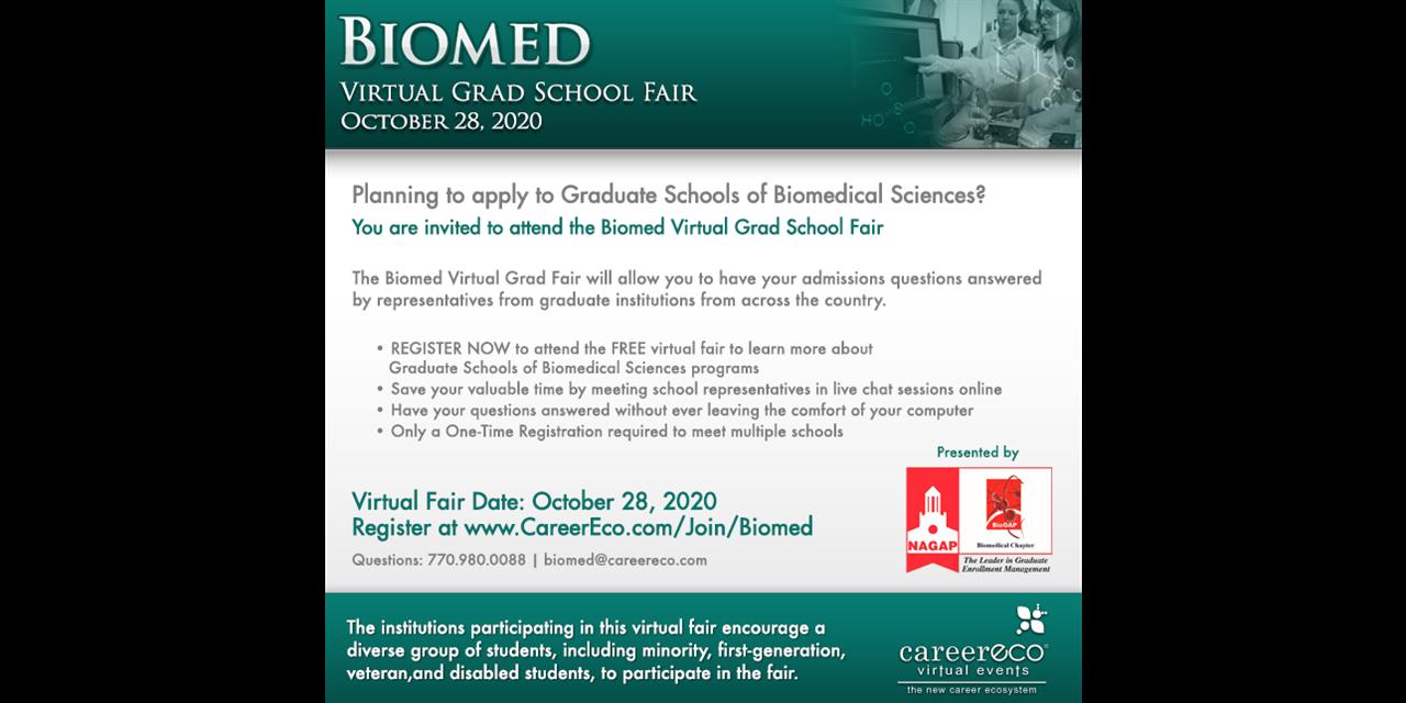 Biomed Virtual Grad School Fair Event Logo