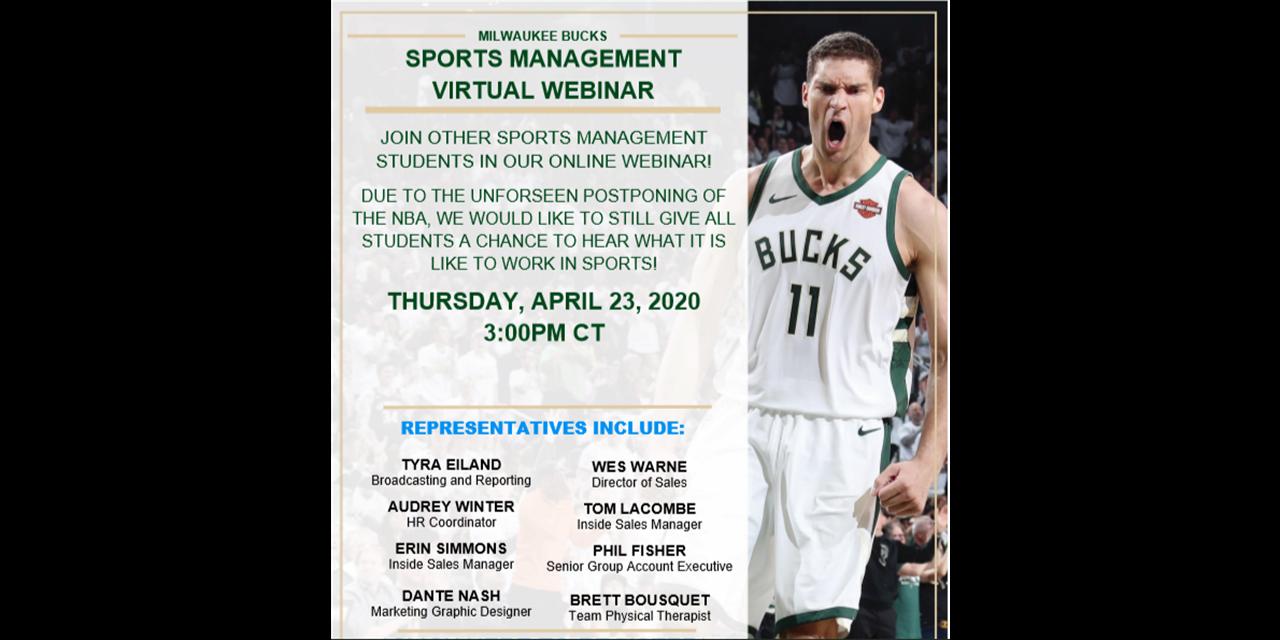Milwaukee Bucks Sports Management Virtual Webinar Event Logo