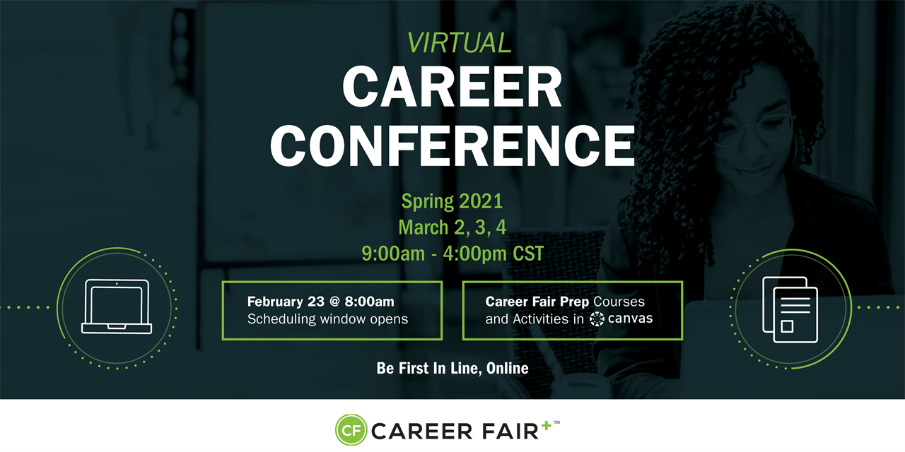 Window Scheduling Opens for Spring 2021 Virtual Career conference Event Logo