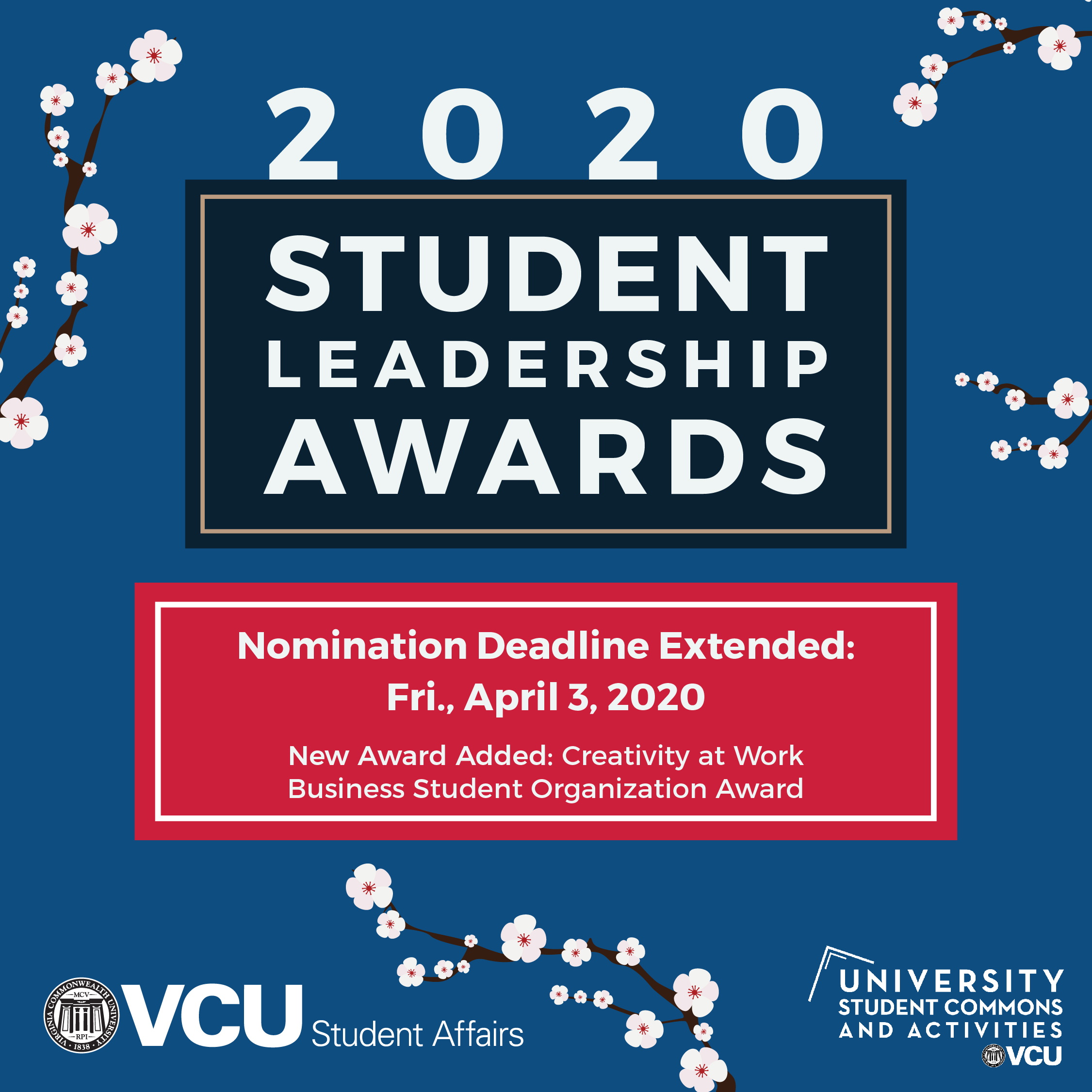 2020 Student Leadership Awards Nominiation Deadline Extended to April 3