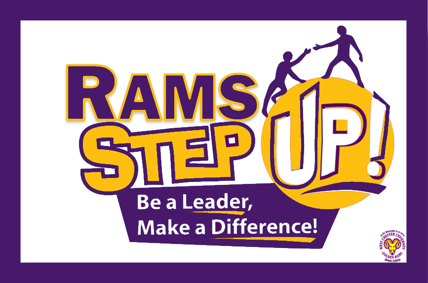 Rams Step Up! Logo in purple & gold. Text reads: Rams Step Up! Be a leader, make a difference
