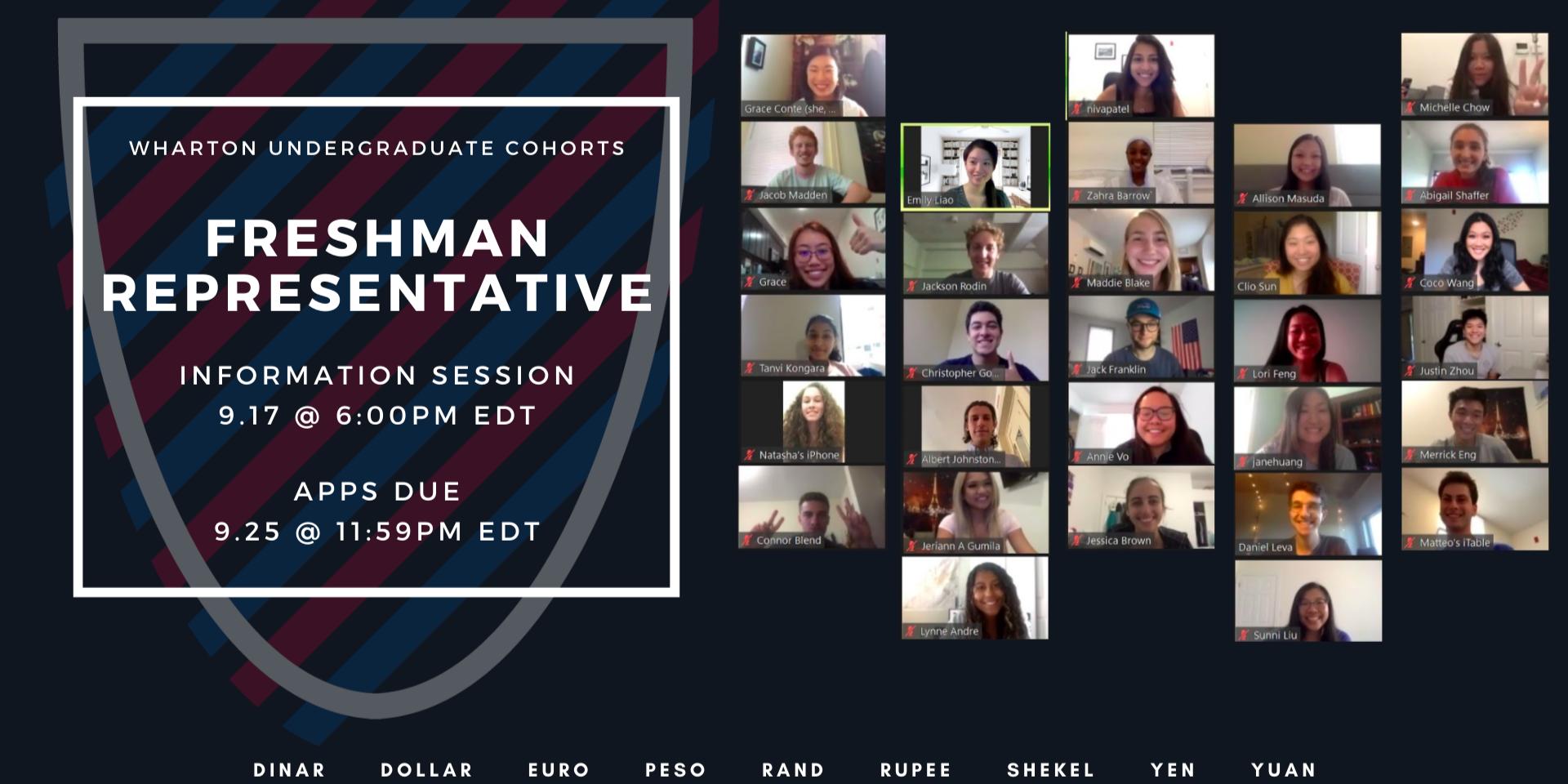 Wharton Cohorts Freshman Representative Information Session